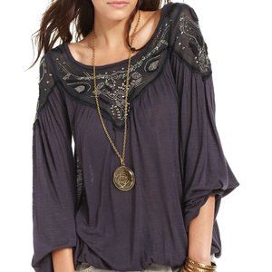 FREE PEOPLE Beaded Studded Blouse
